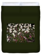 White Narcissus With Pink English Daisies In A Spring Garden Duvet Cover
