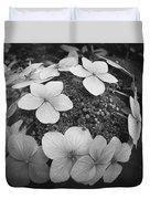 White On Black Hydrangea Petals Duvet Cover