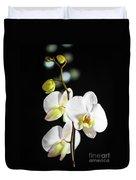 White Orchid On Black Bw Duvet Cover