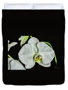 White Orchid On Black Duvet Cover