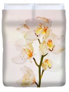 White Orchids Faux Watercolor Duvet Cover