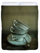 White Ornamented Teacups Duvet Cover
