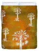 White Palms Gold Duvet Cover