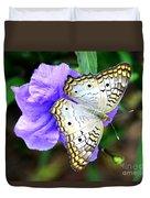White Peacock Butterfly On Purple 2 Duvet Cover