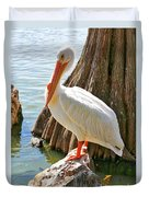 White Pelican By Cypress Tree Duvet Cover