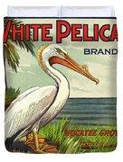 White Pelican Fruit Crate Label C. 1920 Duvet Cover