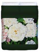 White Peony Garden Duvet Cover