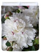 White Peony With Red Traces Duvet Cover