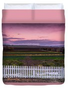 White Picket Fence Looking Over Farmland  Duvet Cover