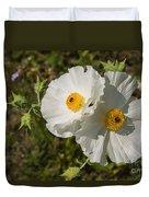 White Poppy Twins Duvet Cover