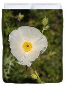 White Poppy With Buds Duvet Cover