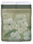White Primula Duvet Cover