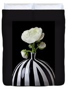 White Ranunculus In Black And White Vase Duvet Cover by Garry Gay