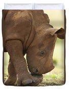 White Rhinoceros Ceratotherium Simum Duvet Cover by Matthias Breiter