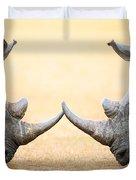 White Rhinoceros  Head To Head Duvet Cover