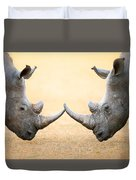 White Rhinoceros  Head To Head Duvet Cover