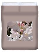 White Rhodies Pink Rhododendrons Flowers Art Prints Canvas Botanical Baslee Troutman Duvet Cover