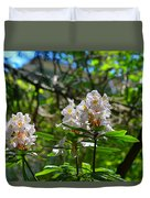 White Rhododendron Blooms Duvet Cover