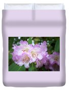 White Rhododendron Flowers With A Purple Fringe Duvet Cover