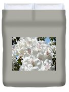 White Rhododendrons Flowers Art Prints Baslee Troutman Duvet Cover