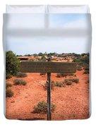 White Rim Overlook Trail Signpost Duvet Cover