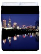 White River Reflects Indy Skyline Duvet Cover