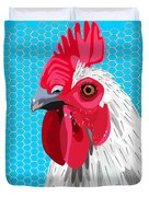 White Rooster With Blue Background Duvet Cover