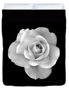 White Rose Flower In Black And White Duvet Cover