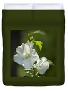 White Rose Of Sharon Squared Duvet Cover