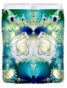 White Roses  And Blue Satin Bouquet Fractal Abstract Duvet Cover