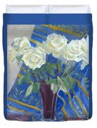 White Roses With Red And Blue Duvet Cover