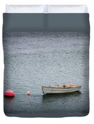White Rowboat And Seagull Duvet Cover