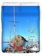 White Sail Boat Morro Rock  Duvet Cover