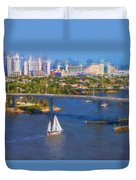 White Sailboat On The Water Duvet Cover