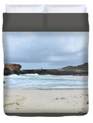 White Sand Beach And Large Rock Formations In Aruba Duvet Cover