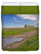 White Sheds On A Prairie Farm In Spring Duvet Cover