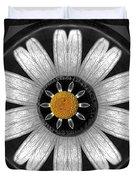 White Shimmering Flower Duvet Cover