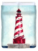 White Shoal Lighthouse Michigan Nautical Light House Red And White Candycane Stripes Duvet Cover