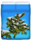 White Snow On Evergreen Duvet Cover