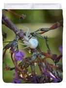White Spider In Butterfly Bush Duvet Cover