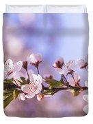 White Spring Flowers Duvet Cover