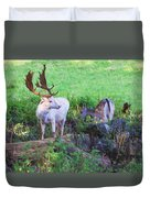 White Stag And Hind Duvet Cover