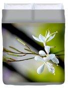 White Stem Flowers Duvet Cover