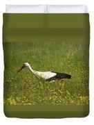 White Stork Looking Fr Frogs Duvet Cover