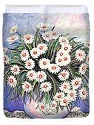 White Straw Flowers Two Duvet Cover