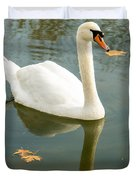 White Swan With Reflection Duvet Cover