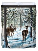 White Tail Deer In Winter Duvet Cover