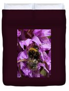 White-tailed Bumblebee On Southern Marsh Orchid Duvet Cover