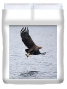 White-tailed Eagle With Catch Duvet Cover