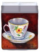 White Tea Cup With Yellow Flowers Grace Venditti Montreal Art Duvet Cover
